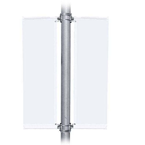 Vispronet - Double Sided 24in. Wide Street Banner - Withstands Wind Gusts up to 63mph - Includes 4 Mounting Brackets, 4 24in. Aviation Grade Fiberglass Poles, and 6 Steel Bands - Hardware only (Street Four Light)