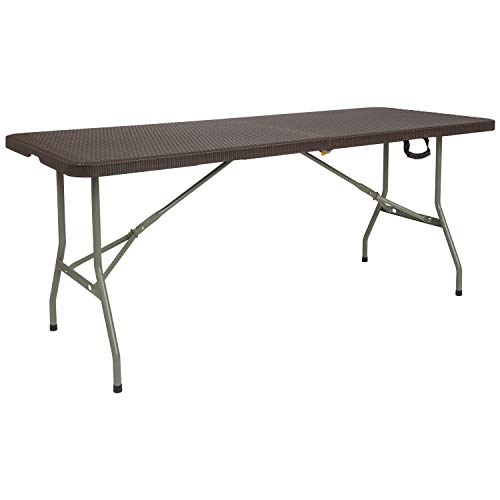 (Flash Furniture 29''W x 71''L Bi-Fold Brown Rattan Plastic Folding Table)