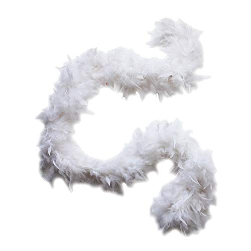 Cynthia's Feathers 80g Turkey Chandelle Feather Boas over 30 Color & Patterns (White) -