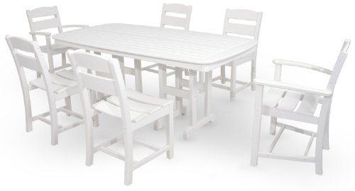 Ivy Terrace IVS108-1-WH Classics 7-Piece Dining Set, White (Garden Dining Room Furniture Terrace)