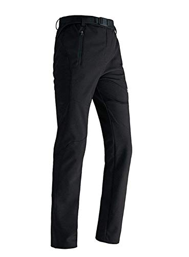 LANBAOSI Women's Outdoor Waterproof Softshell Fleece Hiking Ski Pants Black