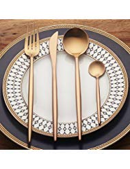 4-Piece Stainless Steel Flatware Set 1 Including Fork Spoons Knife Tableware (Rose ()
