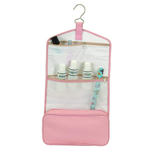 Royce Leather Hanging Toiletry Bag - Leather - Carnation Pink - Carnation - Carnation Wallets Travel Pink