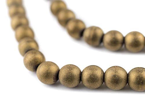 TheBeadChest Brass Round Hematite Beads (8mm): Organic Gemstone Round Spherical Energy Stone Healing Power for Jewelry Bracelet Mala Necklace Making