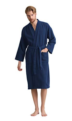 Men's Robe, 100% Turkish Cotton Long Waffle Spa Bathrobe, Diamond Pattern (XX-Large, Navy) ()