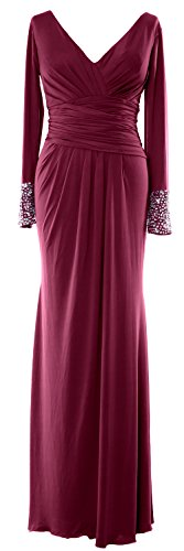 Gown Formal Evening V Weinrot Neck of MACloth Long the Jersey Bride Mother Dress Sleeves qaxBpvR7