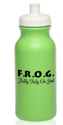 100 Green Pack of Neon Green Fully Rely On God F.R.O.G. 20oz Bike Water Bottles by Christian Book And Toys LLC