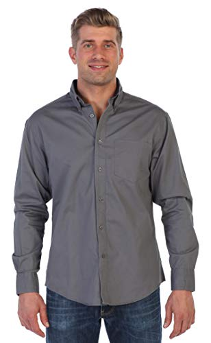 (Gioberti Mens Long Sleeve Casual Twill Contrast Shirt, Gray, Large)