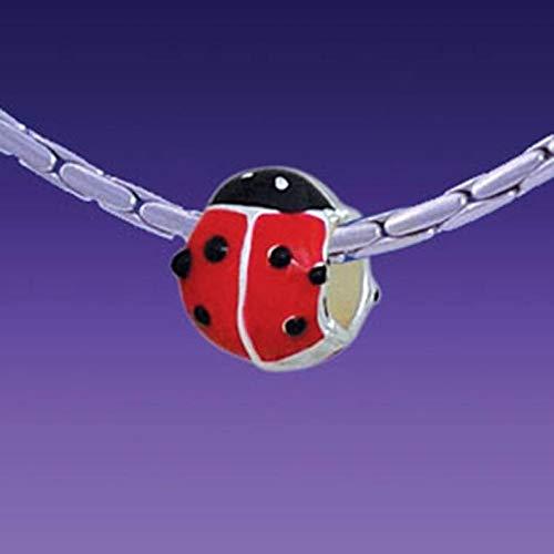 (Design Ideas - Enamel red Ladybug Triple Silver Plated European Charm Large Hole Bead USA Seller - Unique Selection Beads)