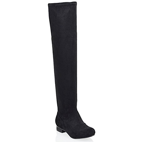 OVER SIZE Suede THE Black Faux LADIES THIGH FLAT WOMENS HIGH STRETCH HEEL BOOTS HIGH KNEE wXxwY6