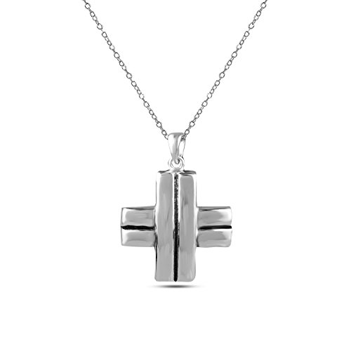 LeCalla Sterling Silver Light Weight Jewelry Greek Cross Pendant with Cable Chain for Women