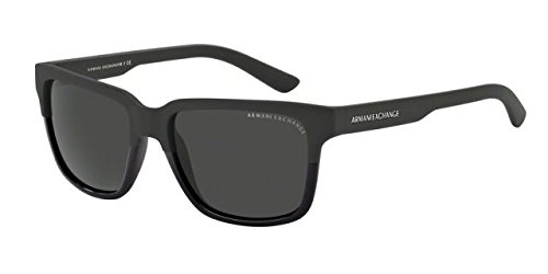 Armani Exchange Mens Sunglasses (AX4026) Black Matte/Grey Plastic - Non-Polarized - 56mm