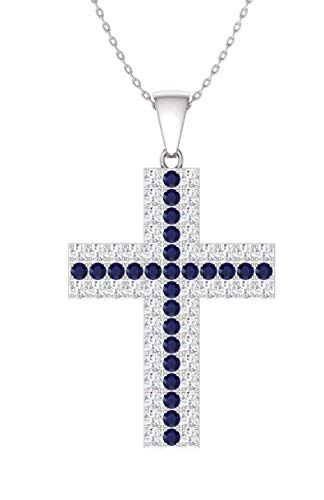Diamondere Natural and Certified Sapphire and Diamond Cross Necklace in 14k White Gold   1.02 Carat Pendant with Chain
