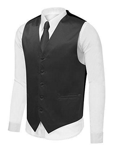 Azzurro Men's Dress Vest Set Neck Tie, Hanky for Suit or Tuxedo, Charcoal, - Tuxedo Gray Charcoal