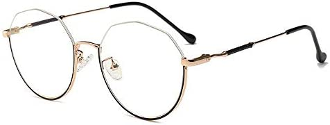 LIUYALE Retro Unregelmäßige Halbrahmengläser Schutz der Augen Leicht stark und robust Rahmen Classic Halbrahmenhalbrand klare Linse Gläser Brillenfassungen (Color : Gold/Black)