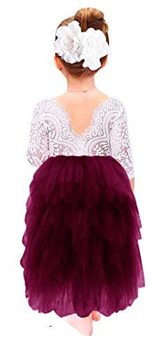 2Bunnies Girl Beaded Peony Lace Back A-Line Tiered Tutu Tulle Flower Girl Dress (Plum Long Sleeve Maxi, 5)
