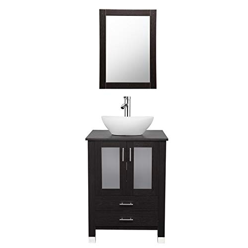 24 inch Bathroom Vanity and Sink Combo Stand Cabinet Bowl with Vanity Mirror,Modern MDF Cabinet w/Sink Faucet &Drain Set - Mdf Set Cabinet
