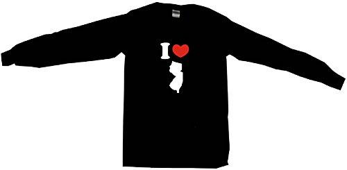 I Heart Love New Jersey Silhouette Women's Regular Fit Tee Shirt XXXL (3XL)-Black Long Sleeve
