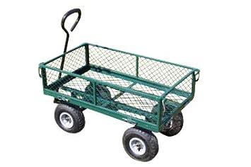 Carrito de jardín grande con 4 ruedas y laterales abatibles - OFERTA