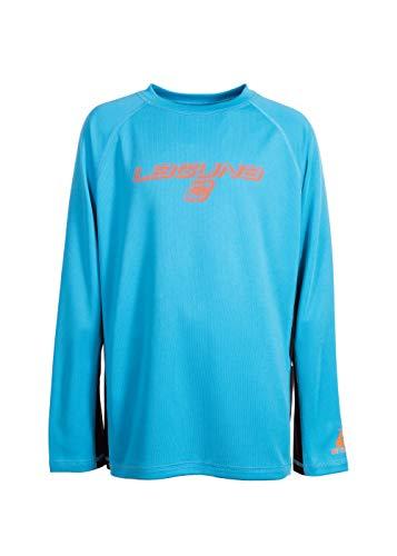 LAGUNA Boys Crewneck Long Sleeve Loose Fit Rashguard Swim Sun Tee Shirt, UPF 50+, Blue/Navy Blue/Orange, 10/12