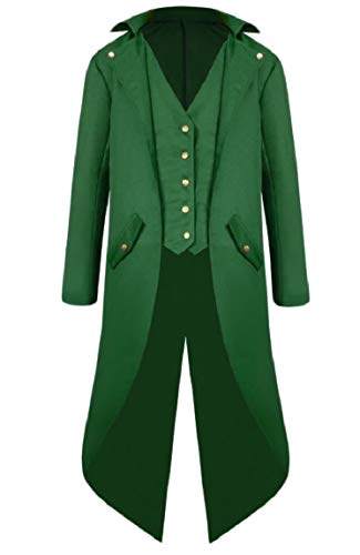 Mfasica Men Fashion Single Breasted Retro Tuxedo Medieval Blazer Jacket Green M