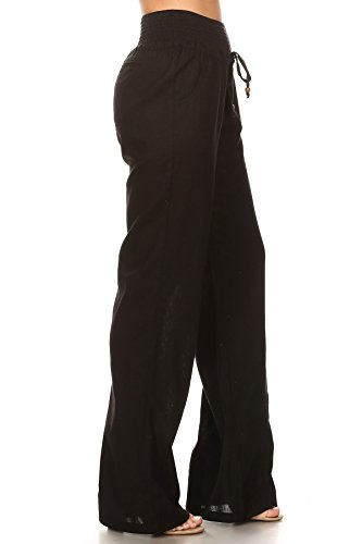 (April Apparel Inc. Via Jay Women's Casual Relaxed-Fit Wide Leg High Waist Pants (Small, Black))