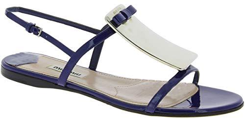 (Miu Miu Women's Blue Patent Leather Flat Sandals Shoes - Size: 6.5 US)