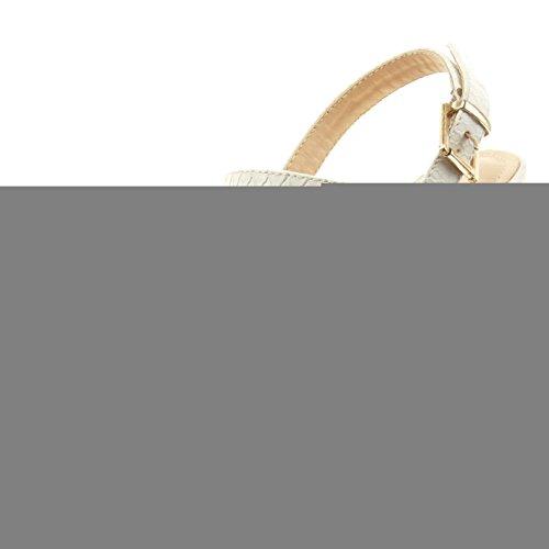 Sopily - Zapatillas de Moda Sandalias abierto Tobillo mujer piel de serpiente Talón Tacón de aguja alto 10 CM - plantilla sintético - Blanco