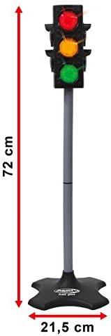 Jamara 460256 460256-Ampelanlage-Grand/Traffic Light-Grand-Ampel mit Lichtfunktion, klassisches & realistisches Design, hochwertiger Kunststoff, Ampelphasen automatisch od.manuell,Autoabschaltfunktion