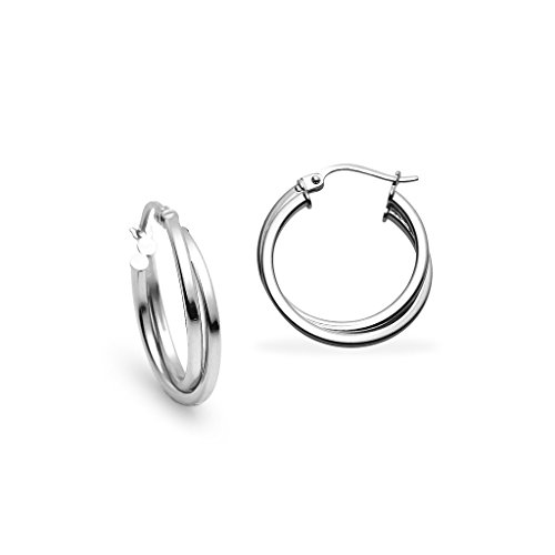 - Sterling Silver 20mm Square-Tube Twist Hoop Earrings