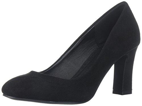 Qupid Women's Low Heel Pump, Black Suede, 6 M US ()