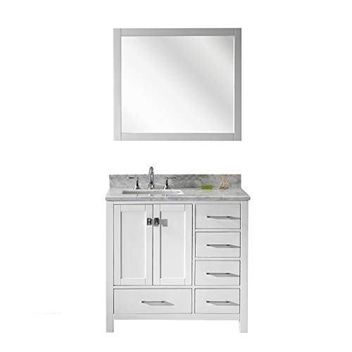 Virtu USA Caroline Avenue 36 inch Single Sink Bathroom Vanity Set in White w/Square Undermount Sink, Italian Carrara White Marble Countertop, No Faucet, 1 Mirror - GS-50036-WMSQ-WH
