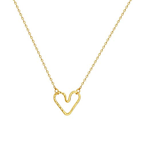 Harmmered Hollow Heart Necklace, Women 14K Gold Pated Dainty Geometry Cute Pendant Necklace