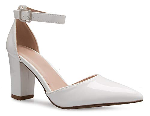 White Patent Ankle Straps - OLIVIA K Women's Sexy D'Orsay Ankle Strap Pointed Toe Block Heel Pump - Classic, Comfortable