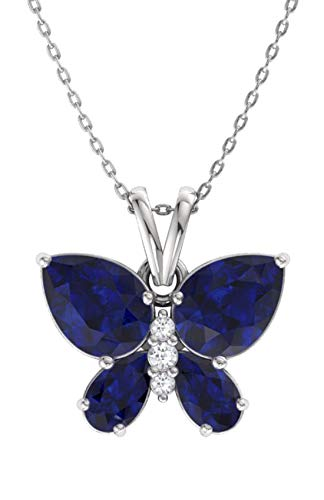 Si1 Sapphire Necklace - Diamondere Natural and Certified Blue Sapphire and Diamond Butterfly Pendant in 14k White Gold | 1.11 Carat SI1-SI2 Quality Necklace with Chain