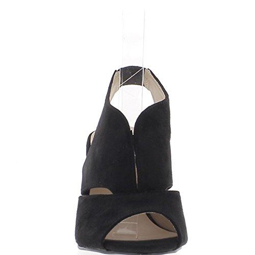 Sandales noires à talon fin de 9cm aspect daim larges brides