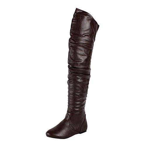 West Blvd London-Thigh-High Thigh High Boots, Brown1 Pu, 6