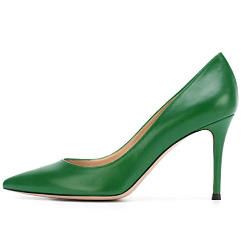 YODEKS Women's Pointed Toe Classic Pumps 85mm Stiletto Heels Patent Shoes Party Dress Pumps Green Matt US6.5