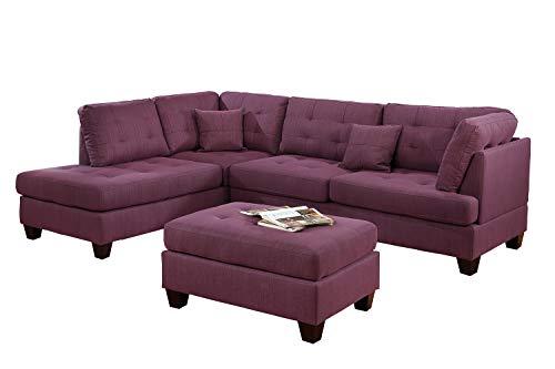 Bobkona Sectional Sofa Set Purple