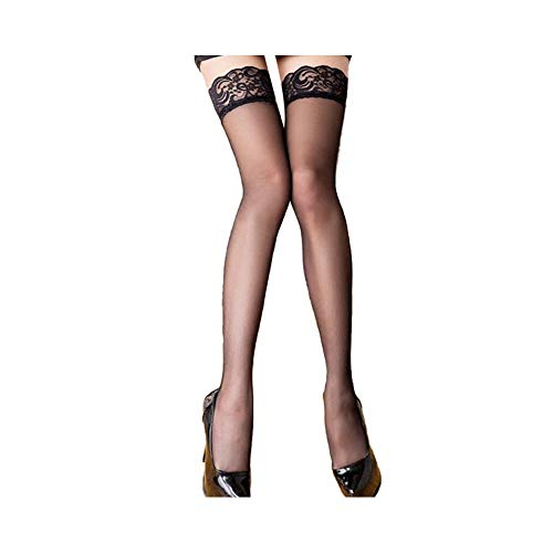 Lace Thigh High Sheer Stockings - Shimmery Hosiery Tights Nylon Pantyhose for Women,Free Size (black)