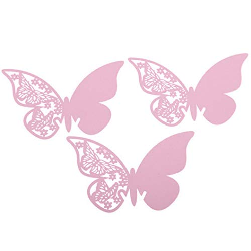Fheaven (TM) Decoration card - DIY 50pcs Butterfly Place Escort Wine Glass Cup Paper Card for Wedding Party (pink) -