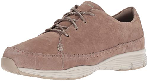 Suede Lace Up Walking Shoes - Skechers Women's Seager - Prospect - Moc-Toe Whipstitched Lace-Up Sneaker - Classic FIT Mushroom, 10 M US