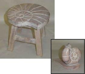 Nautilus Shell Hand Carved Wooden Stool and Doorstop Set (Whitewashed)