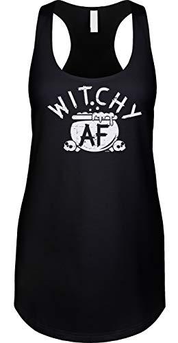 Blittzen Womens Tank Witchy AF - Halloween Pun Funny Joke, 2XL, Black]()