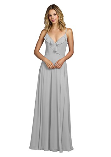 YORFORMALS Women's Spaghetti Strap Chiffon Long Bridesmaid Dress Ruffle Neckline Party Gown Size 8 Silver