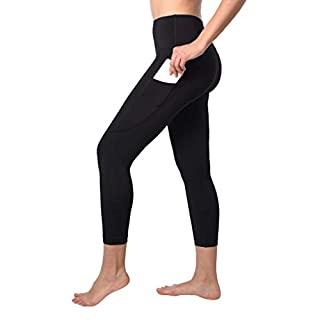 90 Degree By Reflex Squat Proof Side Phone Pocket Yoga Capris - High Waist Cropped Leggings - Black - Medium