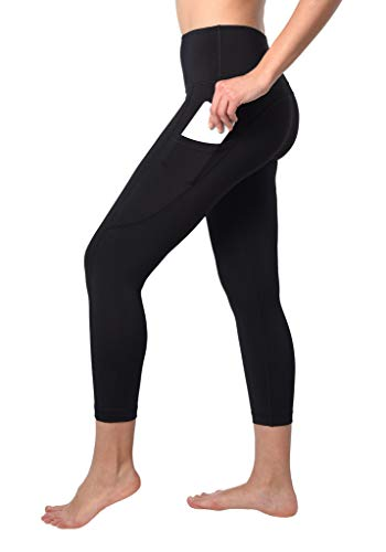 (90 Degree By Reflex Squat Proof Side Phone Pocket Yoga Capris - High Waist Cropped Leggings - Black - XS)