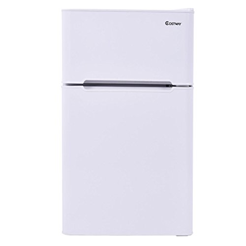 Costway 2-Door Apartment Size Refrigerator 3.2 cu ft. Unit Stainless Steel Compact Small Freezer Cooler Fridge