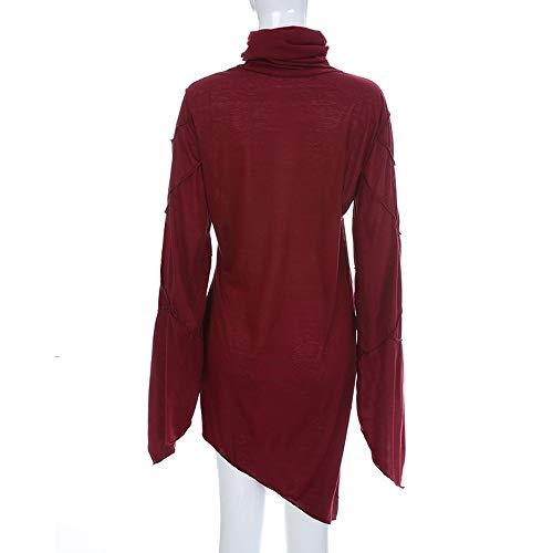 HOSOME Women Slim Skew Hem Tops Solid Turtleneck Scarf Collar Asymmetric Sleeves Blouse