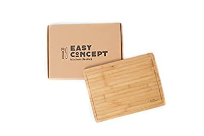 Extra Large Bamboo Cutting and Serving Board with Drip Groove by Easy Concept Kitchen Classics - Thick and Heavy Duty, Stylish Chopping Board - For Meat, Vegetables, Bread & Cheese - 17 by 12.5 Inch